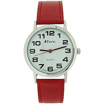Ravel Ladies Jumbo Face Dial Coloured PU Strap Easy Read Watch xmas Gift for Her[Red - R0105.10.1]