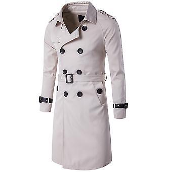 Allthemen الرجال & apos;ق معطف لابيل سليم صالح الصلبة مزدوجة الصدر معطف طويل