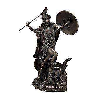Athena Greek Goddess of Wisdom & War Throwing Javelin Bronze Finish Statue