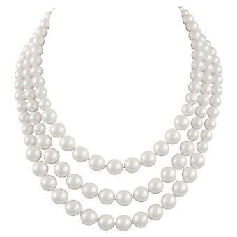 Wieczna kolekcja Windsor Trzy nici ukończył biały shell pearl naszyjnik