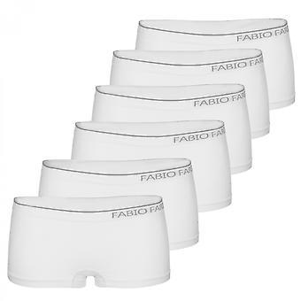 6er Set sportliche Damen Boxer Fabio Farini Design seamless Pantys schwarz/weiß