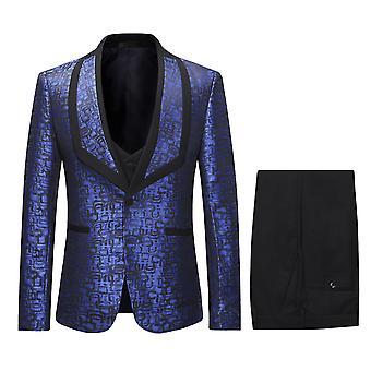Allthemen Men's Shawl Collar Printed Suit 3 Pieces (Blazer + trousers + vest)