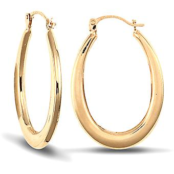 Boucles d'oreilles créoles Flat Oval Jewelco London Ladies 9ct Yellow Gold