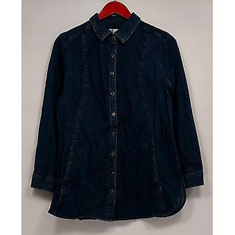 Denim et Cie. Femmes Apos;s Petite Top XSP Long Sleeve Button Front Blue A284570