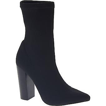 Steve Madden vrouwen ' s puntige hoge hakken midkalf laarzen zwart technische stof