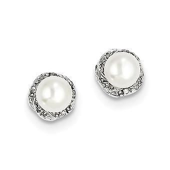 925 Sterling Silver Polished Rhodium Freshwater Cultured Pearl and Diamond Post Earrings Jewelry Gifts for Women