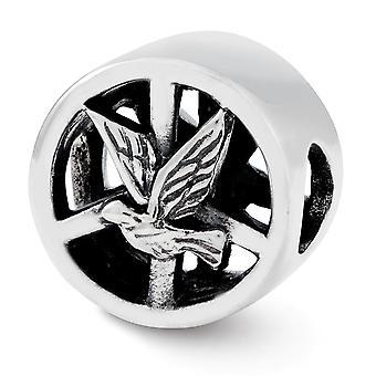 925 plata esterlina pulido reflexiones paloma y señal de paz encanto colgante collar regalos de joyería para las mujeres