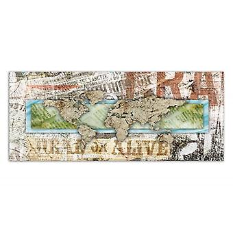 Deco Panel, World Map - newspaper