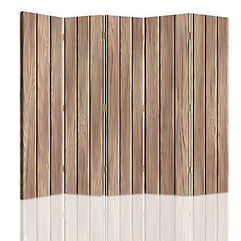 Divisor de habitación, 5 paneles, doble cara, giratorio 360, lona, tablas de madera