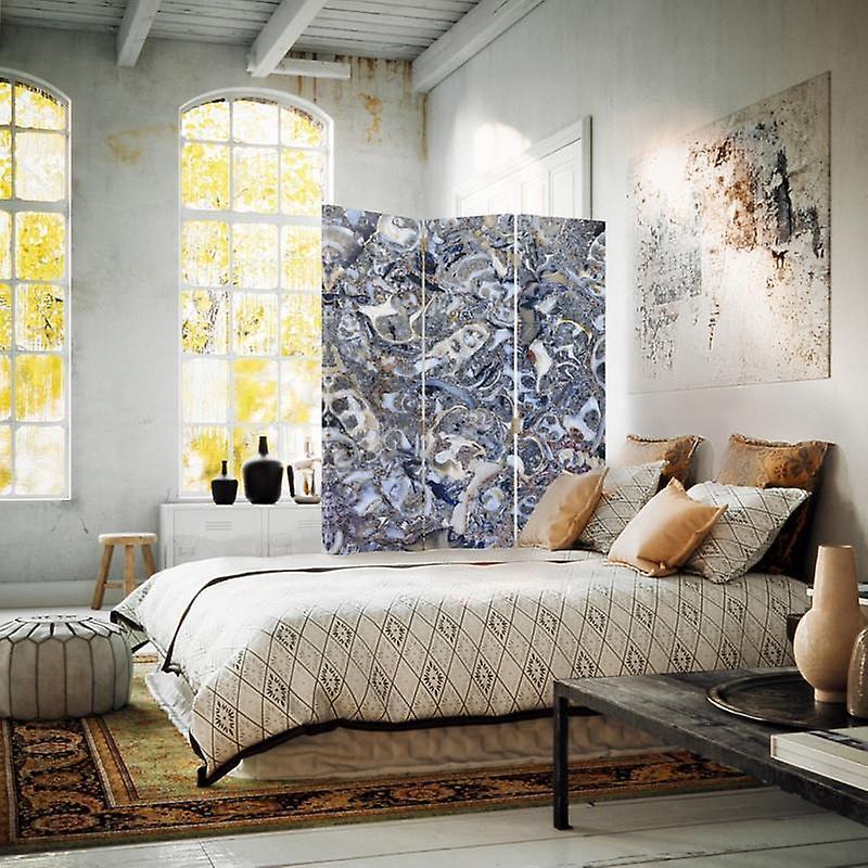 Diviseur de chambre, 3 panneaux, double-sided, toile, mosaïque de marbre