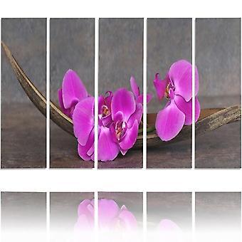 Vijf deel foto op canvas, Pentaptych, type C, roze orchideeën