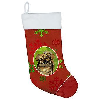 Tibetansk Spaniel røde og grønne snefnug ferie Christmas strømpe