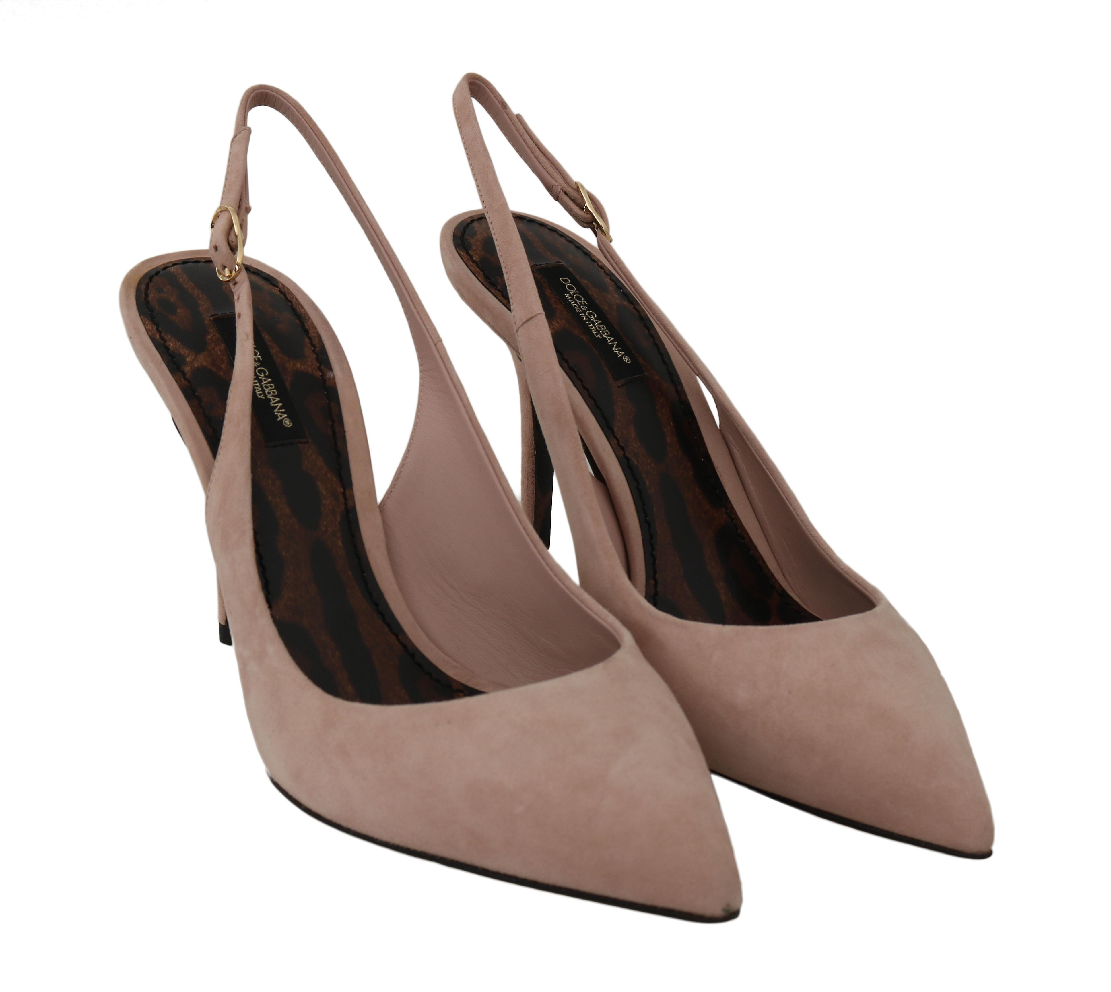 Pink Suede Leather Slingbacks
