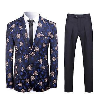 Allthemen mannen ' s 2-delige pakken bloem Jacquard Business Casual blazer & broek
