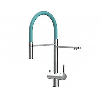 3way Kitchen Filter Mixer 100% Stainless Steel Colored Movable Spout 2 Jets Amovable Spray, Brushed Finish - Turquoise - 432