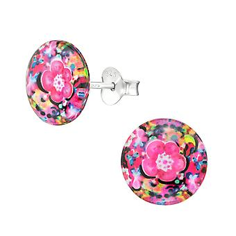 Abstract - 925 Sterling Silver Colourful Ear Studs - W38756X
