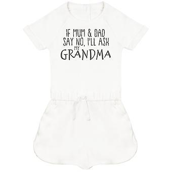 Wenn Mama & Papa Nein sagen, ich'll Fragen Sie meine Oma Baby Playsuit