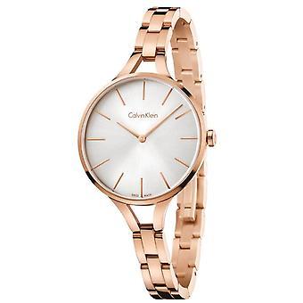 Calvin Klein Graphic Ladies Watch avec Bracelet en or Rose et cadran argenté K7E23646