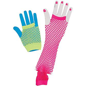 1980s Groupie Disco Cyndi Pink Fishnet Fingerless Women Costume Gloves