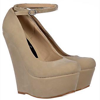 Onlineshoe Nude/beige Suede Wedge Platform Shoes Ankle Strap - Nude/beige Suede