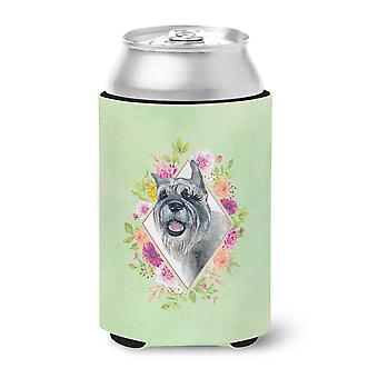 Carolines Treasures  CK4339CC Schnauzer Green Flowers Can or Bottle Hugger