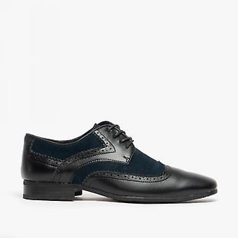 Voorzijde Turijn heren leren suède schoenen zwart/Navy