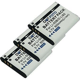 3 x Dot.Foto Olympus LI-50B, LI-50BA, LI-50BB reemplazo batería - 3.7v / 925mAh