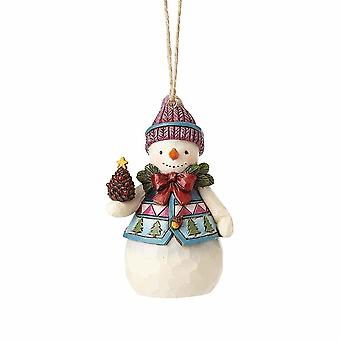 Jim Shore Heartwood Creek Snowman With Pine Cone Mini Hanging Ornament