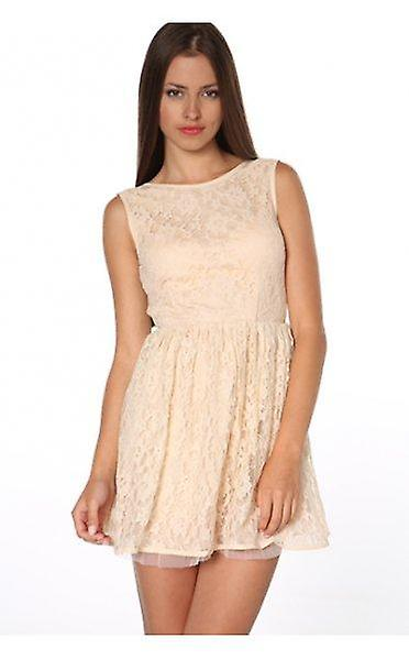 Leila Low Back Lace Skater Dress In