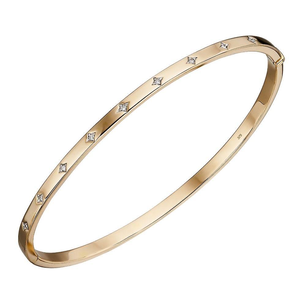 Joshua James Precious 9ct Yellow Gold & Diamond Hinge Clasp Bangle