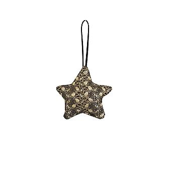 Light & Living Decorative Pendant 9x9x2cm Star Black And Gold Print