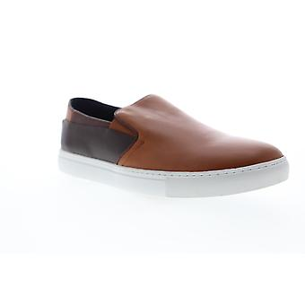Zanzara Goya  Mens Brown Leather Slip On Sneakers Shoes