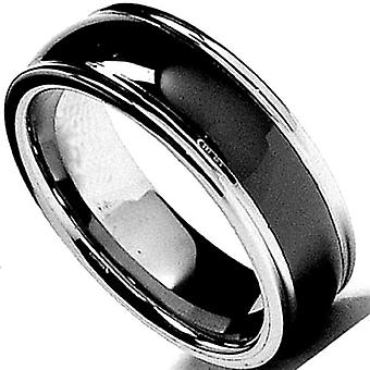 Dazzlingrock Collection Tungsten Carbide Unisex Ring Wedding Band 8MM (5/16 inch) Black Dome Beveled Edge Comfort Fit