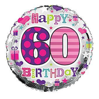 Simon Elvin 18 Inch Happy 60th Birthday Heart Design Foil Balloon