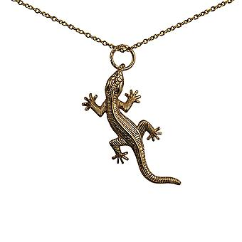 9ct Gold 34x19mm Lizard Pendant with a cable Chain 20 inches