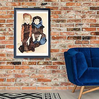 Egon Schiele - duas meninas Poster impressão giclée