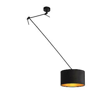 QAZQA Lampe suspendue avec ombre de velor noir avec or 35 cm - Blitz I noir
