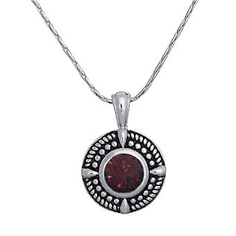 Annaleece Silvertone Round Pendant With Red Crystals