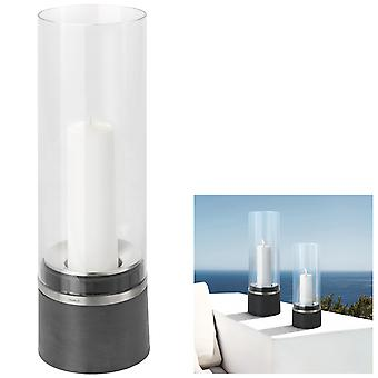 Blomus Lantern PIEDRA, PolyStone with stainless steel matt combined, glass top