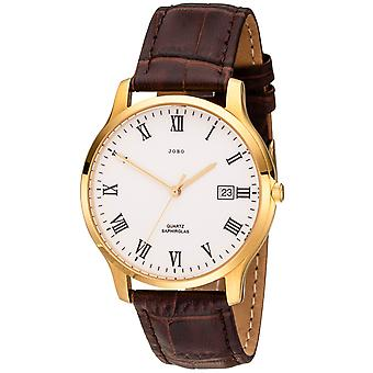 JOBO men's wristwatch quartz analog stainless steel plated brown leather band date
