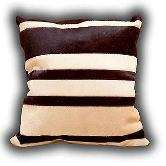 Rugs -Leather Stripes Cushion Beige & Brown
