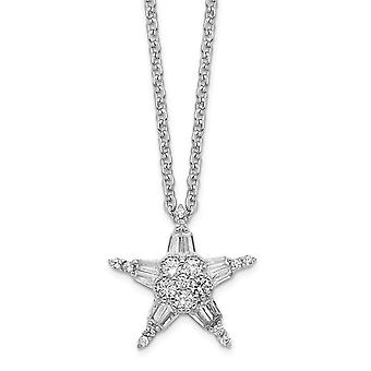 925 Sterling Silver Rh plated CZ Cubic Zirconia Simulated Diamond Star Pendant With In 1.5 Ext. Necklace 15.5 Inch Jewel