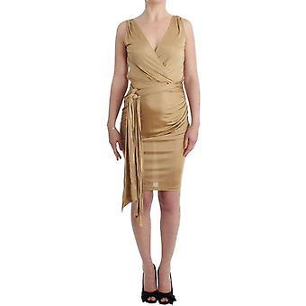 Galliano Beige Wrap Coctail Dress -- SIG1626181
