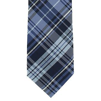 Michelsons of London Country Check Polyester Tie - Blue