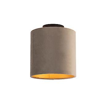 Lampe de plafond QAZQA avec 20cm Velvet Taupe Shade - Combi Black