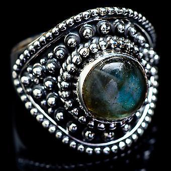 Labradorite Ring Size 8 (925 Sterling Silver)  - Handmade Boho Vintage Jewelry RING4922