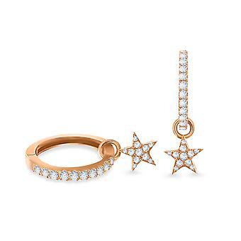 Earrings Hoops Diamond Star 18K Gold and Diamonds - Rose Gold