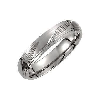 Titanium 5mm Satin and Polished Ridged Band Ring Jewelry Gifts for Women - Ring Size: 6 to 11