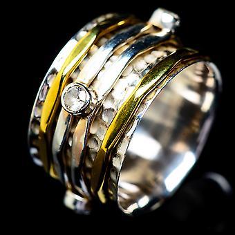 White Quartz Meditation Spinner Ring Size 7 (925 Sterling Silver)  - Handmade Boho Vintage Jewelry RING5452