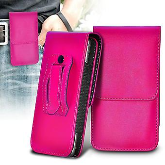 Sonim XP8 Pink XXLarge Vertical Faux Leather Belt Holster Pouch Cover Case